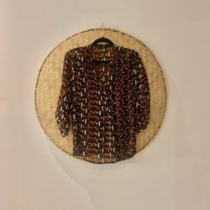 Woman's S/M Boho Sheer Silk Style Patterned Blouse
